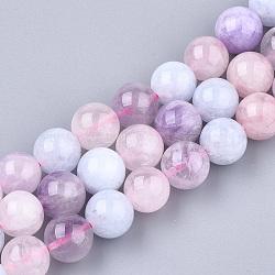 perles naturelles morganite brins, arrondir, couleur mélangée, 10~10.5 mm, trou: 1.2 mm; environ 36~38 perle / brin, 14.1(G-T108-30C)