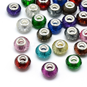 Resin European Beads, Large Hole Beads, with Silver Color Plated Brass Cores, Faceted, Rondelle, Large Hole Beads, Mixed Color, 13.5~14.5x9mm, Hole: 5mm(RPDL-S009-M)