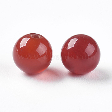 Natural Carnelian Beads, Half Drilled, Dyed & Heated, Round, 6mm, Hole: 1mm(X-G-K275-12-6mm)