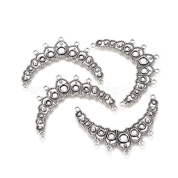 Tibetan Style Links, Chandelier Components, Alloy, Cadmium Free & Lead Free & Nickel Free, Antique Silver Color, Size: about 64.5mm wide, 50mm long, 3mm thick, hole: 2mm(X-TIBEP-EA366YKG-AS-FF)