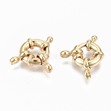 Brass Spring Ring Clasps, with Bail Beads/Hanger Links, Nickel Free, Real 18K Gold Plated, 11.5mm, Hole: 2.5mm(X-KK-S356-112G-NF)