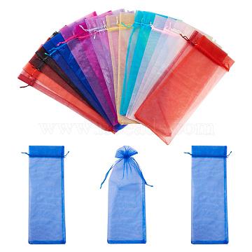 Nbeads® sacs en organza, rectangle, couleur mixte, 37x14cm; 2 pcs / couleur, 20 pièces / kit(OP-NB0001-01)
