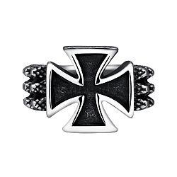 anneaux croisés en acier inoxydable 316 l pour hommes, argent antique, taille 12, 21.4 mm(RJEW-BB03851-12)
