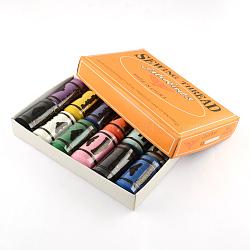402 cordons de fils à coudre en polyester pour tissus ou bricolage, couleur mixte, 0.1 mm; environ 360 m/rouleau, 12 rouleaux / boîte(OCOR-R028-C03)