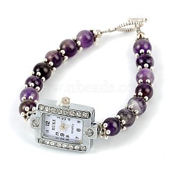 Rectangle Alloy Rhinestone Electronic Watch Bracelets, with Amethyst and Tibetan Style Toggle Clasps, Platinum, 195mm(BJEW-JB01737-03)