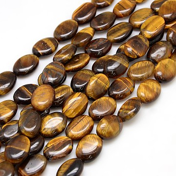 18mm Oval Tiger Eye Beads