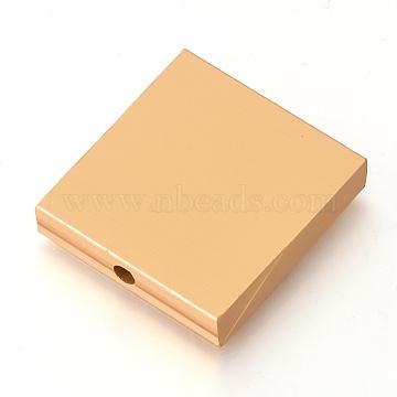 Eco-Friendly Aluminium Beads, Laser Cut Beads, Square, Gold, 30x28.5~29.5x6mm, Hole: 3mm(ALUM-Q001-27A)