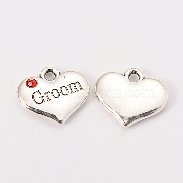 Wedding Theme Antique Silver Tone Tibetan Style Alloy Heart with Groom Rhinestone Charms, Hyacinth, 14x16x3mm, Hole: 2mm(X-TIBEP-N005-20E)