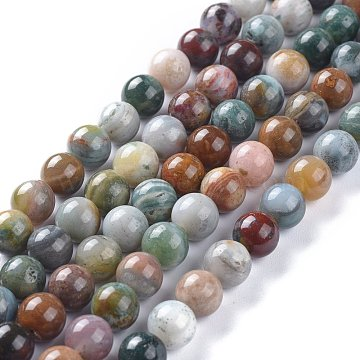 Natural Ocean Jasper/Ocean Agate Beads Strands, Round, 8.5mm, Hole: 1.2mm; about 46pcs/Strand, 15.28 inches(38.8cm)(X-G-K416-08-8mm)