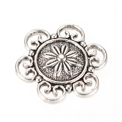 cabochons en alliage de style tibétain, fleur, sans cadmium et sans plomb, argent antique, 30x27x4 mm(X-TIBE-Q064-57AS-RS)