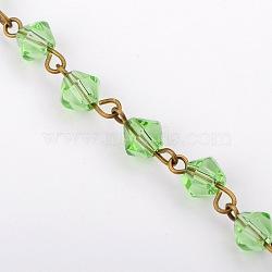 main perles de verre de toupie chaînes pour neckalces bracelets faisant, avec épingle à oeil en fer bronze antique, non soudée, palegreen, 39.3; perles: 6 mm(AJEW-JB00041-03)