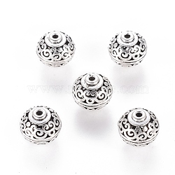 Brass Hollow Beads, Filigree Ball, Round with Floral Design, Antique Silver, 11.5x12mm, Hole: 1mm(X-KK-I394-AS)