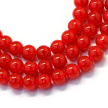 Baking Painted Imitation Jade Glass Round Bead Strands, Crimson, 4.5~5mm, Hole: 1mm, about 210pcs/strand, 31.4 inches(X-DGLA-Q021-4mm-29)