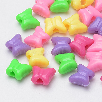 Plastic Beads, Butterfly, Mixed Color, 10x11.5x6.5mm, Hole: 3mm; about 1425pcs/500g(MACR-S272-36)