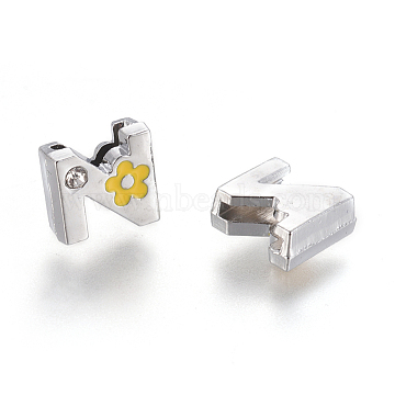 Alloy Rhinestone Slide Charms, with Enamel, Letter.Z with Yellow Flower, Platinum Metal Color, 9x10x5mm, Hole: 2x8mm(X-ALRI-F003-04Z)