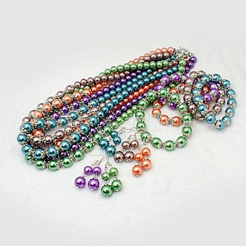 Glass Pearl Jewelry Sets: Earrings, Bracelets and Necklaces, with Tibetan Style Bead Caps, Brass Spring Ring Clasps and Earring Hooks, Mixed Color, Necklaces: about 550mm long, Earrings: about 50mm long, Bracelets: about 55mm inner diameter(SJEW-JS00244)