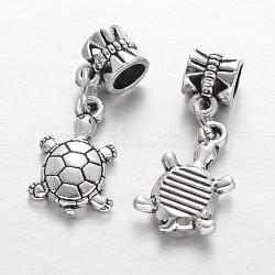 Tortue alliage de style tibétain européen perles pendentif, Pendentifs grand trou, argent antique, 30mm, Trou: 5mm(PALLOY-I116-45AS)