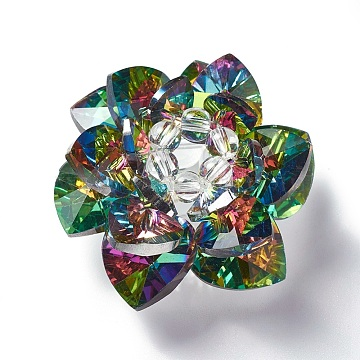 47mm Colorful Flower Glass Beads