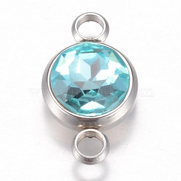 Glass Links connectors, Faceted, with 304 Stainless Steel Findings, Flat Round, Stainless Steel Color, Aquamarine, 17.5x10x6.5mm, Hole: 2.5mm(GLAA-G018-P05)
