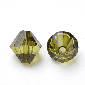 4mm Olive Bicone Acrylic Beads