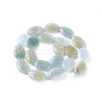 Natural Aquamarine Beads Strands, Oval, 17~19x13~14x3~6mm, Hole: 1mm; about 20pcs/strand, 15.9''(40.5cm)(G-F645-08)