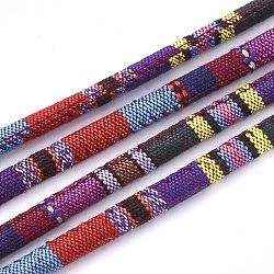Cordes en tissu de style ethnique, avec cordon en coton à l'intérieur, colorées, 6.5~7x5 mm; environ 100 m / bundle(OCOR-S034-27)