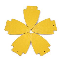 pendentifs environnementaux de peau de vache, flèche, or, 37x24x2 mm, trou: 1.5 mm(FIND-T045-11G)