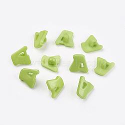 Boutons en acrylique, 1-trou, teint, lettre a, greenyellow, 14x13x2mm, Trou: 3mm(X-BUTT-E028-06)