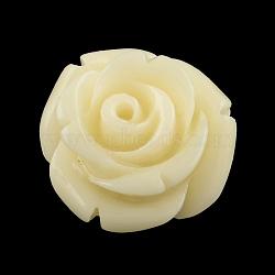 Perles en corail synthétique teinte, fleur, lightgoldenrodyellow, 12x8.5~9mm, Trou: 1mm(CORA-R011-34L)