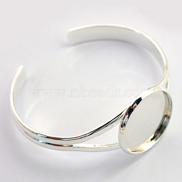 Brass Cuff Bangle Making, Blank Bangle Base, Silver Color Plated, Tray: 25mm, 60.5mm(X-KK-S749-03S)