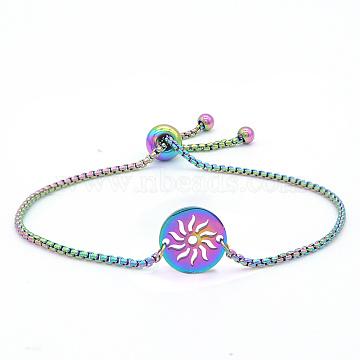 """Bracelets réglables en 201 acier inoxydable, bracelets bolo, avec des chaînes de boîte, plat et circulaire avec soleil, multicolore, 9-1/2"""" (24 cm)(STAS-S105-JN651)"""