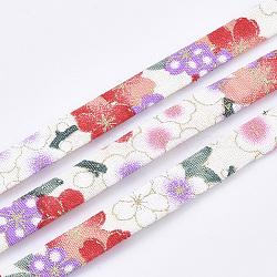 Cordons de tissu plat, motif de fleur, colorées, 9.5x1.5 mm; environ 5 m/rouleau(OCOR-T013-04B-07)