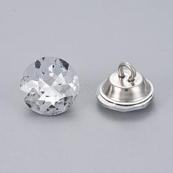 boutons de rhinestone, avec les conclusions de fer, 1-trou, plat rond, platine, cristal, 20x15.5 mm, trou: 2.5 mm(BUTT-WH0014-04C)