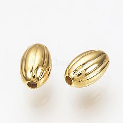 Perles ondulées en laiton, véritable 18k plaqué or, ovale, 5x3mm, Trou: 1mm(X-KK-Q735-287G)