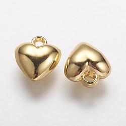 Пластиковые сердечные кулоны ccb, золотые, 16x14x7 мм, отверстие : 2.5 мм(CCB-J027-63G)