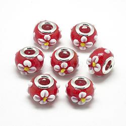 Perles européennes vernissées manuelles, lampwork bosselé, en laiton de platine noyaux doubles, Perles avec un grand trou   , Rondelle avec des fleurs, rouge, 16x14x10.5mm, Trou: 5mm(X-LAMP-Q029-03A)