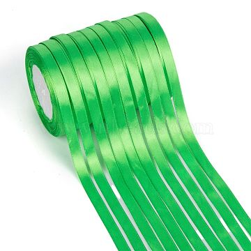 Single Face Solid Color Satin Ribbon, for Gift Packaging, Party Decoration, Green, 3/8 inch(9~10mm); about 25yards/roll(22.86m/roll), 10rolls/group; 250yards(228.6m/group)(SRIB-S051-10mm-052)