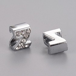 Initial Slide Beads, Alloy Rhinestone Beads, Platinum Color, Letter Z, about 8mm wide, 10mm long, 6.5mm thick, hole: 3.5x7mm(X-ZP12-Z)