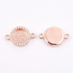 настройки латунного микропровода кубического циркония, долговечный, плоские круглые, розовое золото, лоток: 7 мм; 11.5x17x3 мм, отверстия: 1 mm(KK-F748-22RG)