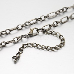 Iron Figaro Chain Necklace Making, with Alloy Lobster Claw Clasps and Iron End Chains, Gunmetal, 29.9 inches(MAK-J004-24B)