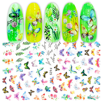 Nail Art Stickers, Self-adhesive, For Nail Tips Decorations, Butterfly, Colorful, 123x80mm(X-MRMJ-Q080-F625)