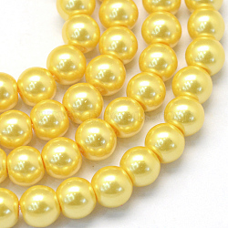 Baking Painted Glass Pearl Bead Strands, Pearlized, Round, Gold, 5~6mm, Hole: 1mm, about 186pcs/strand, 31.4 inches(X-HY-Q003-5mm-67)