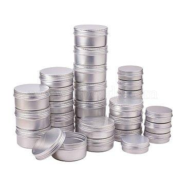 PandaHall Elite Round Aluminium Tin Cans, Aluminium Jar, Storage Containers for Cosmetic, Candles, Candies, with Screw Top Lid, Platinum, 5.2~6.8x2~3.5cm(CON-PH0001-06M)