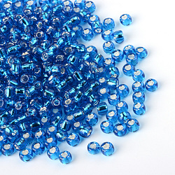 MGB&reg Matsuno Glass Beads, Japanese Seed Beads, 12/0 Silver Lined Glass Round Hole Rocailles Seed Beads, DeepSkyBlue, 2x1mm, Hole: 0.5mm; about 1960pcs/20g(X-SEED-R017-45RR)