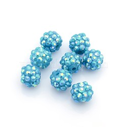 Бусины со стразами из смолы, AB цвет, круглые, темно-синие, 12x10 мм, отверстие : 2 мм(RESI-S256-12mm-SAB17)
