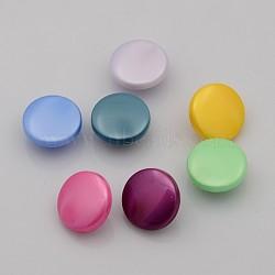 Boutons en acrylique, 1-trou, plat rond, couleur mixte, 13x7mm, Trou: 1.6mm(X-BUTT-N009-13mm-PM)