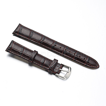 Leather Watch Bands, with Stainless Steel Clasps, CoconutBrown, 88x18x2mm; 125x16x2mm(WACH-M140-18#-05)