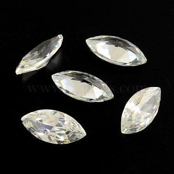 Horse Eye Shaped Cubic Zirconia Pointed Back Cabochons, Faceted, Clear, 8x4mm(ZIRC-R009-8x4-02)