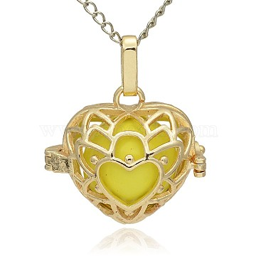 Golden Tone Brass Hollow Heart Cage Pendants, with No Hole Spray Painted Brass Round Beads, Yellow, 24x26x18mm, Hole: 3x8mm(KK-J243-04G)