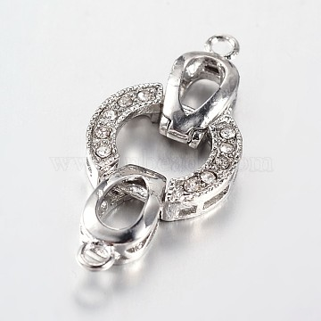 Platinum Alloy+Rhinestone Fold Over Clasps